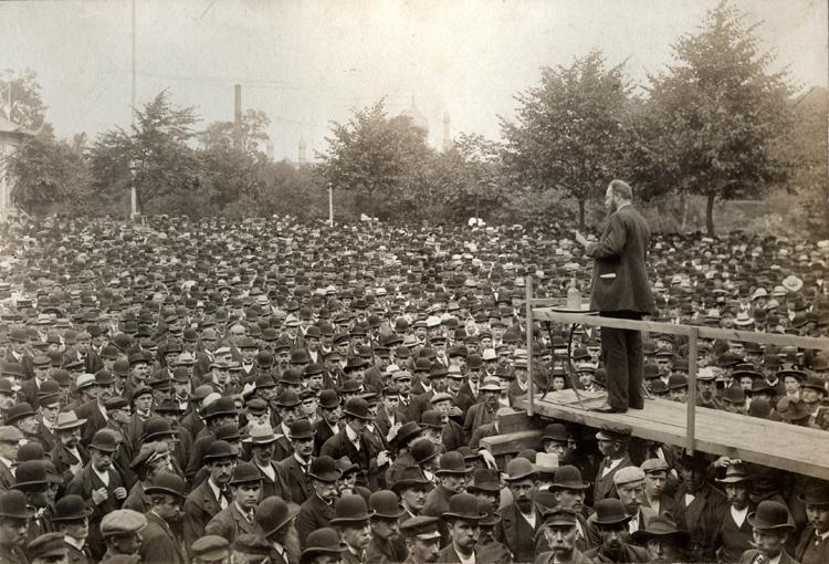Stauning taler i Malmø under Lockouten i 1909.