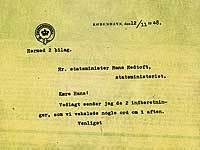 Brev til Hans Hedtoft om efterretningstjenesten, 12. november 1948