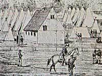 Under koleraepidemien i København 1853 blev der etableret teltlejre til de syge uden for byens volde. Samtidig tegning.