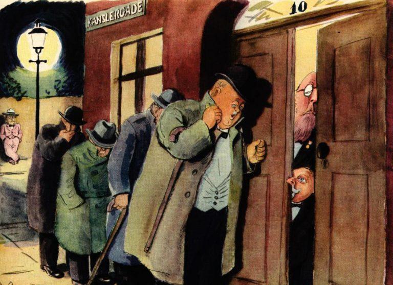 """Satiretegningen """"Det er os"""" fra Blæksprutten 1933 antyder, at de borgerlige politikere ikke var specielt stolte af at forhandle med en socialdemokrat."""