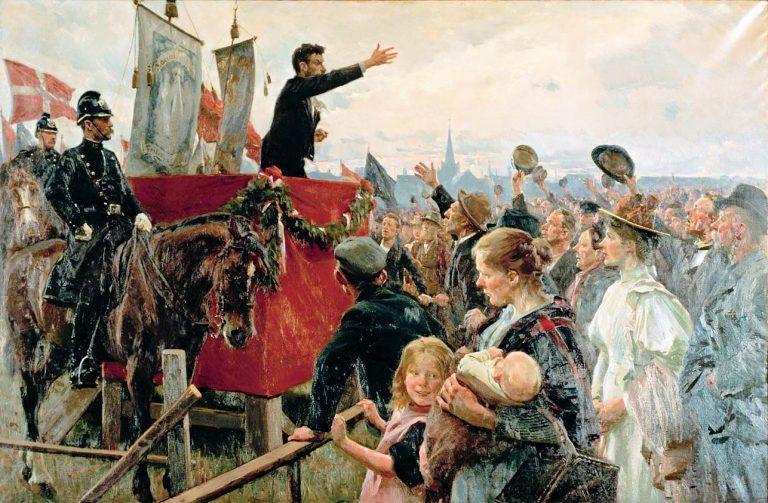 """Maleriet """"En agitator"""" af Erik Henningsen (1899)."""